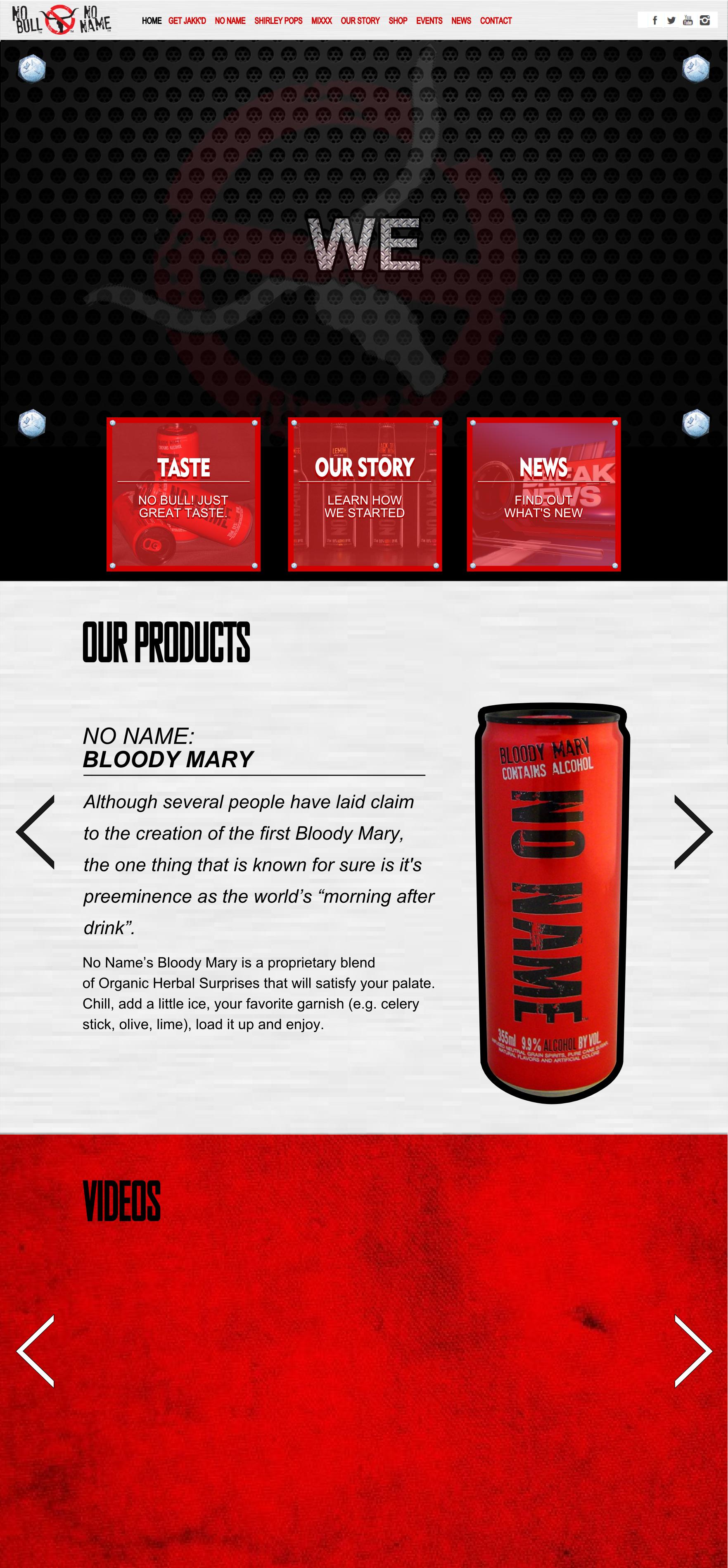 Drink Product Website Design Mockup