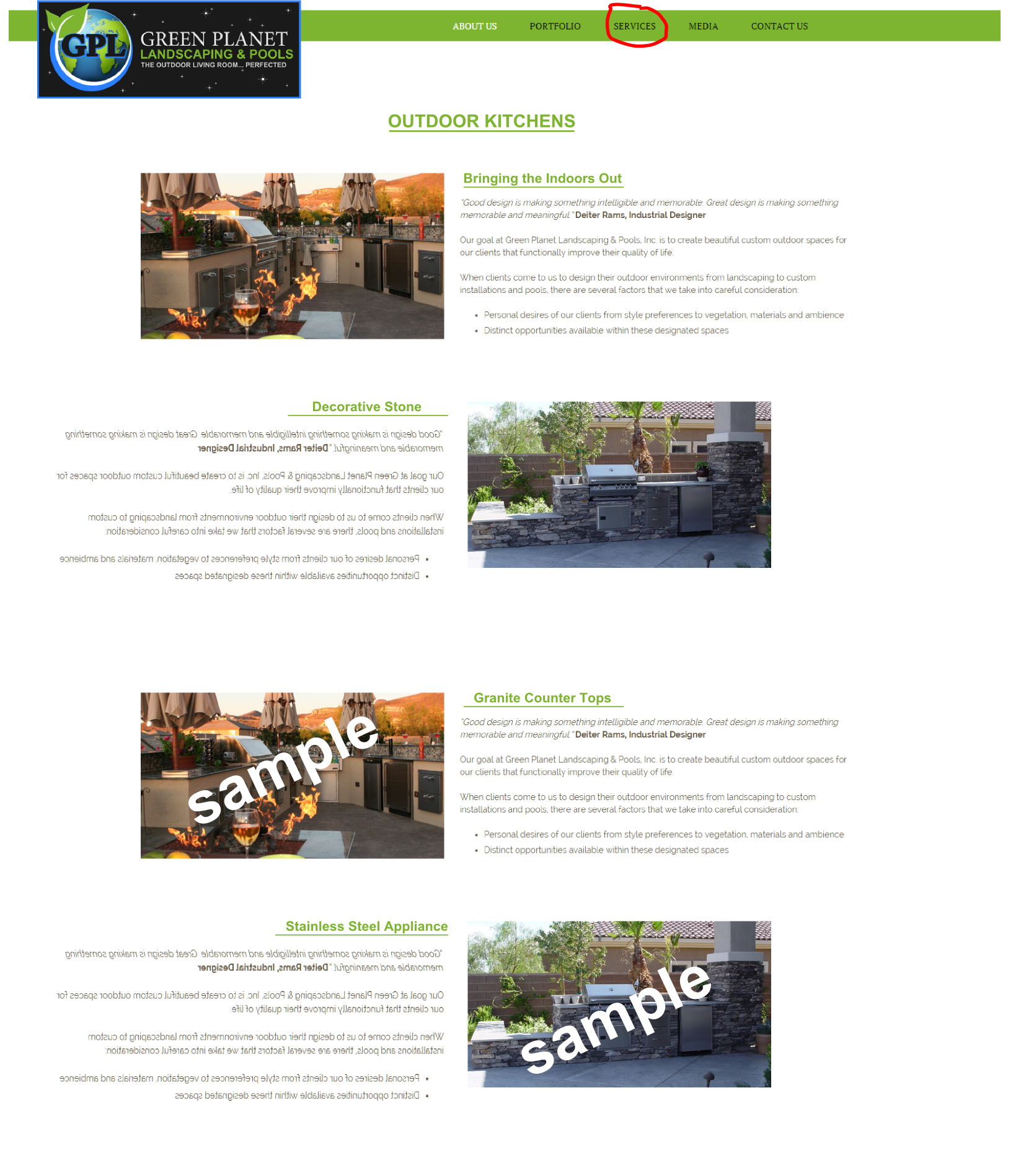 outdoor kitchens page mockup