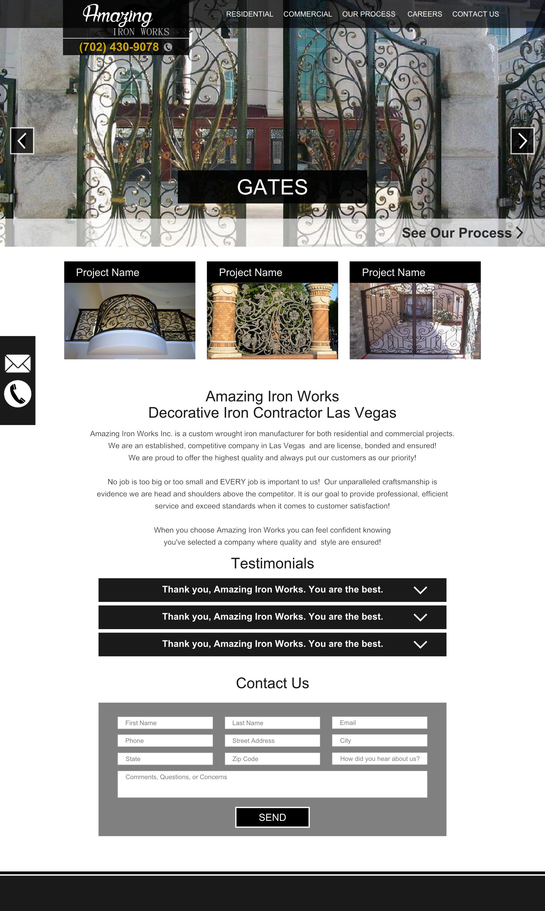 amazing iron contractor website design mockup