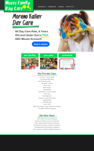 moses day care web design mockup