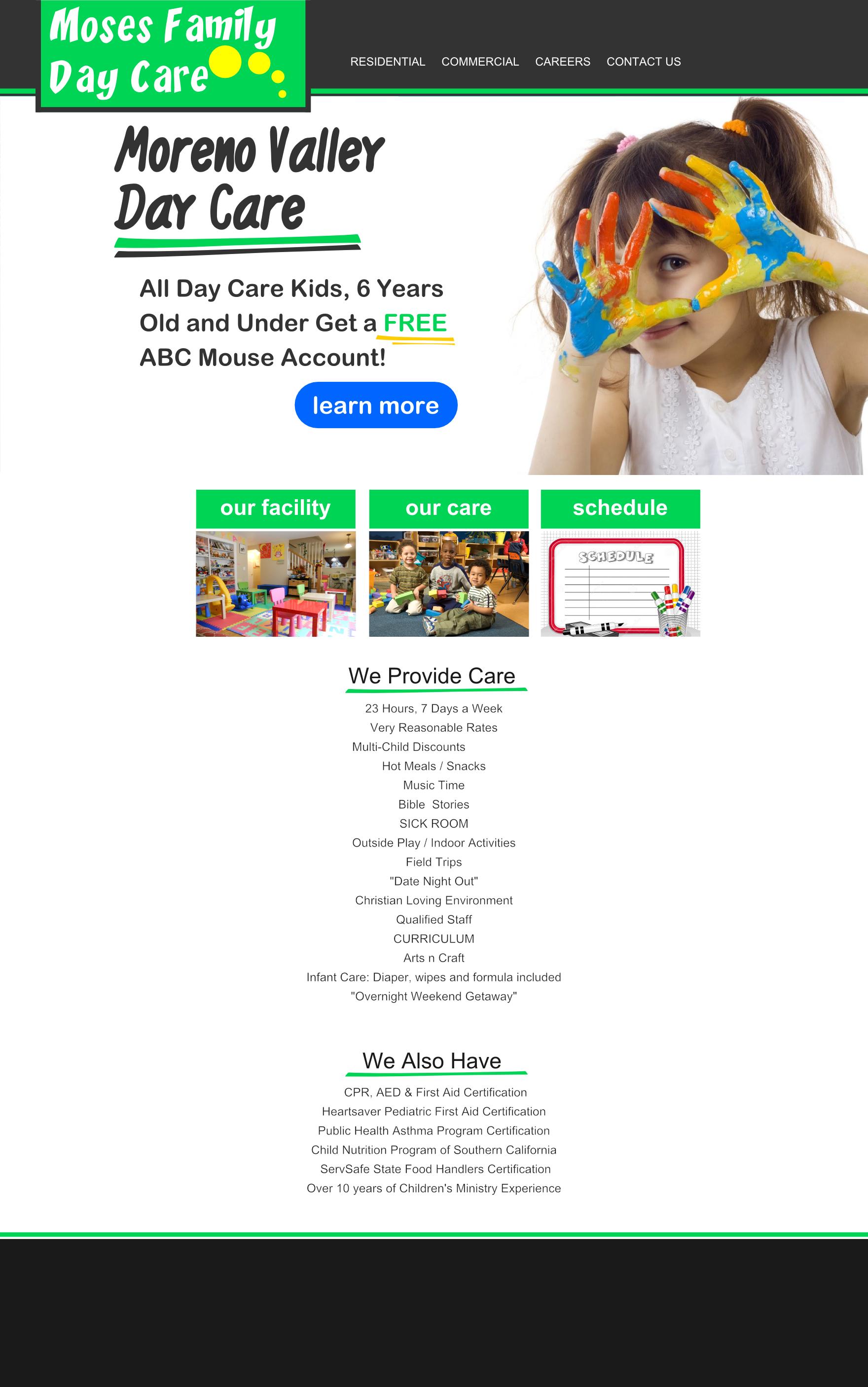 moses day care web design mockup
