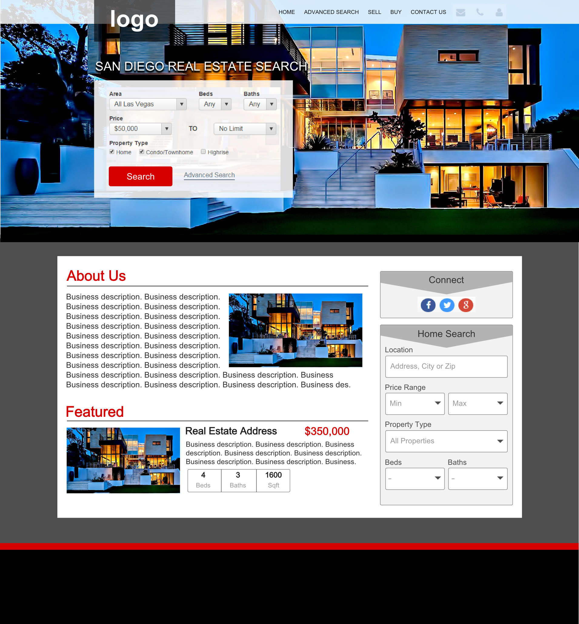 realty website design mockup