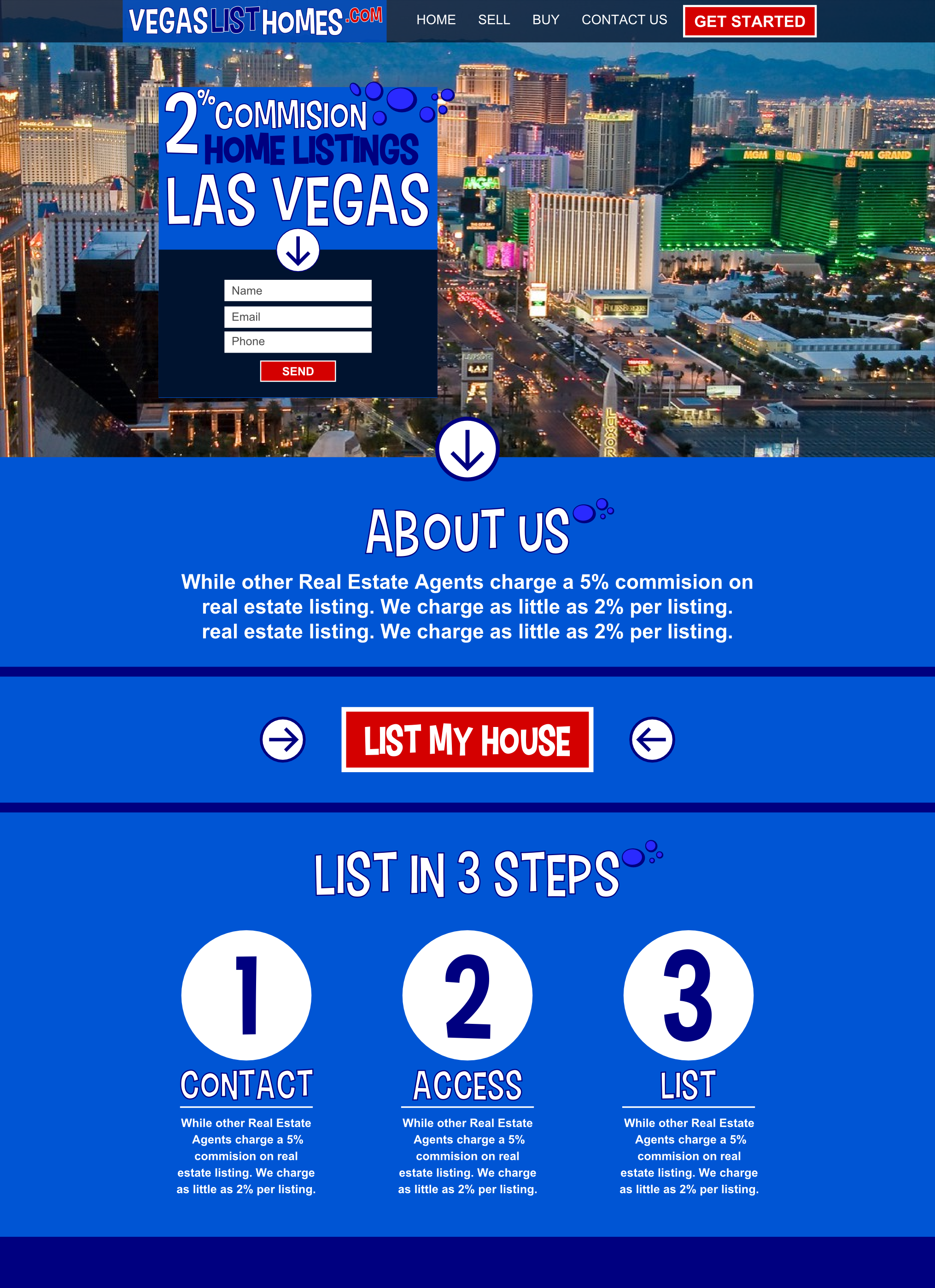 vegas list homes realty website design mockup