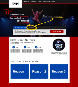 vegas talent buyers las vegas website design mockup