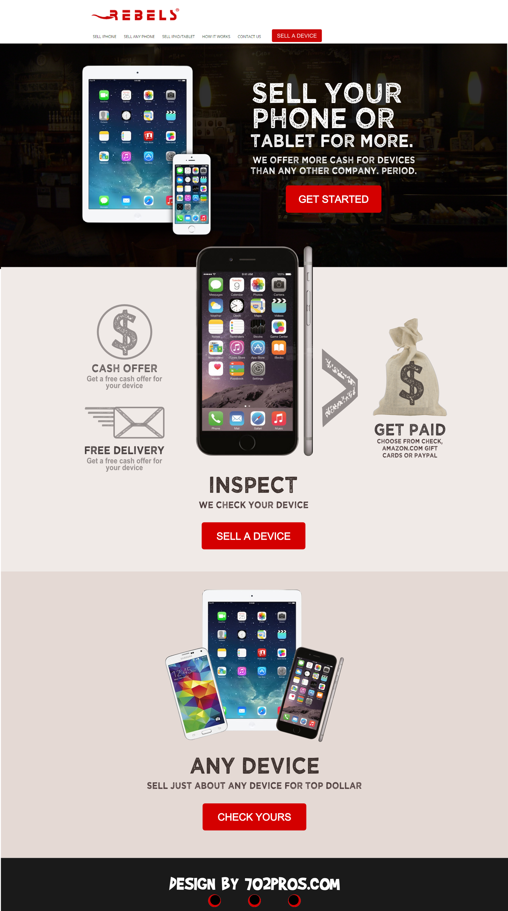 Rebels Wireless Website Design Mockup