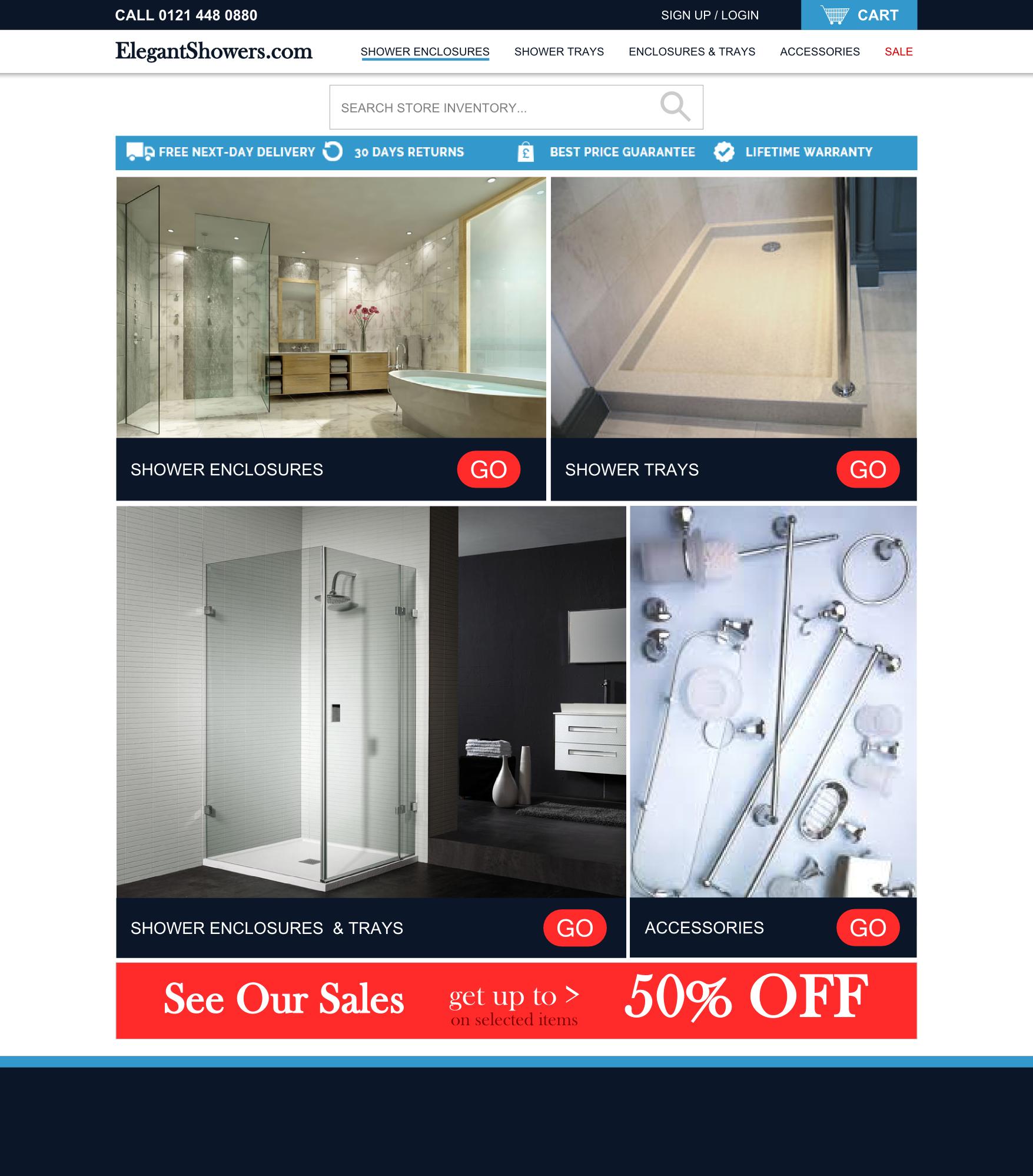 elegant showers web design mockup