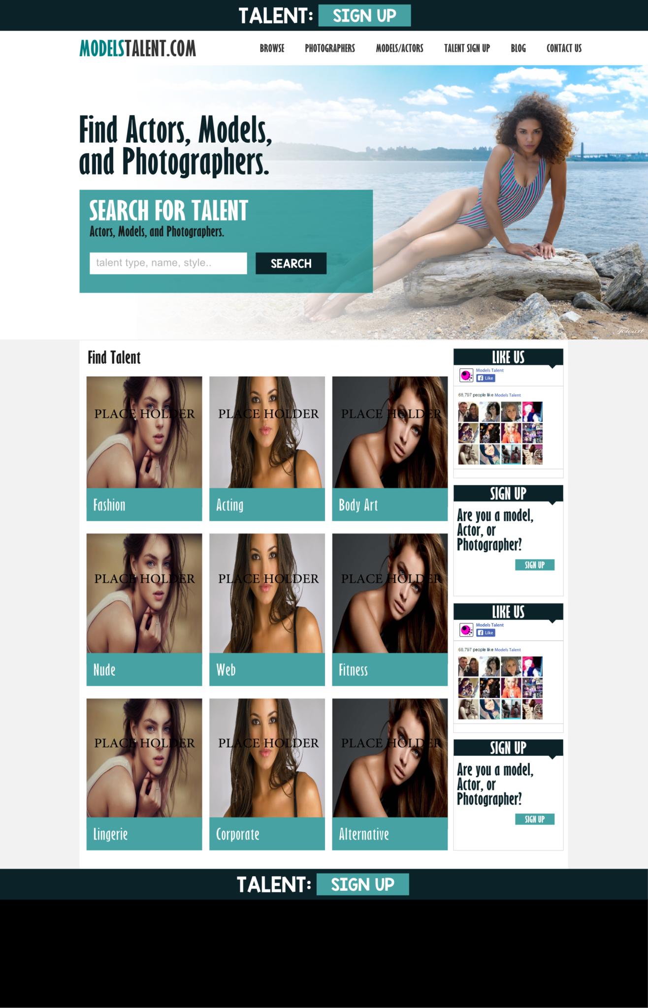modeling agency web design mockup las vegas