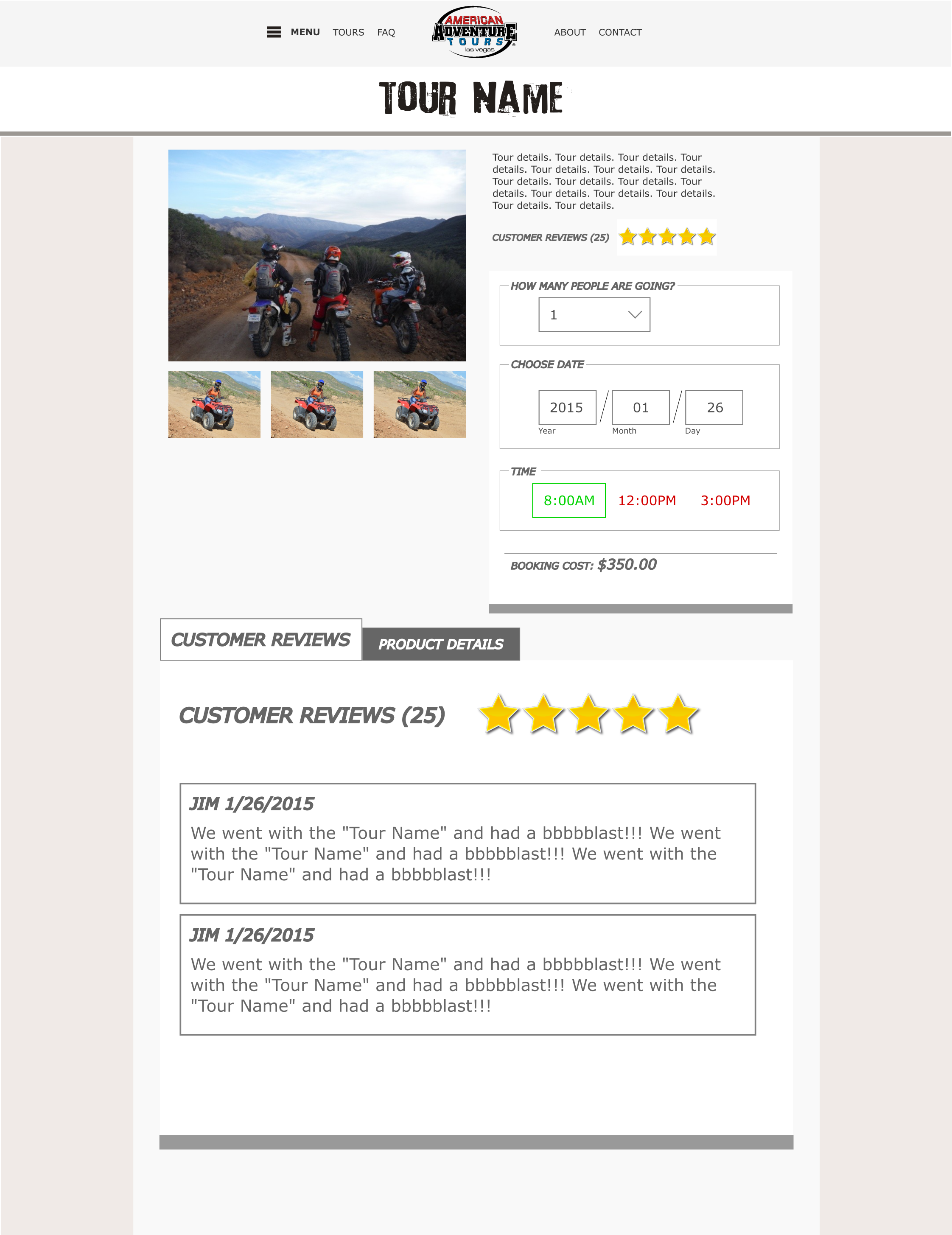 American Adventure Tours - product page mockup