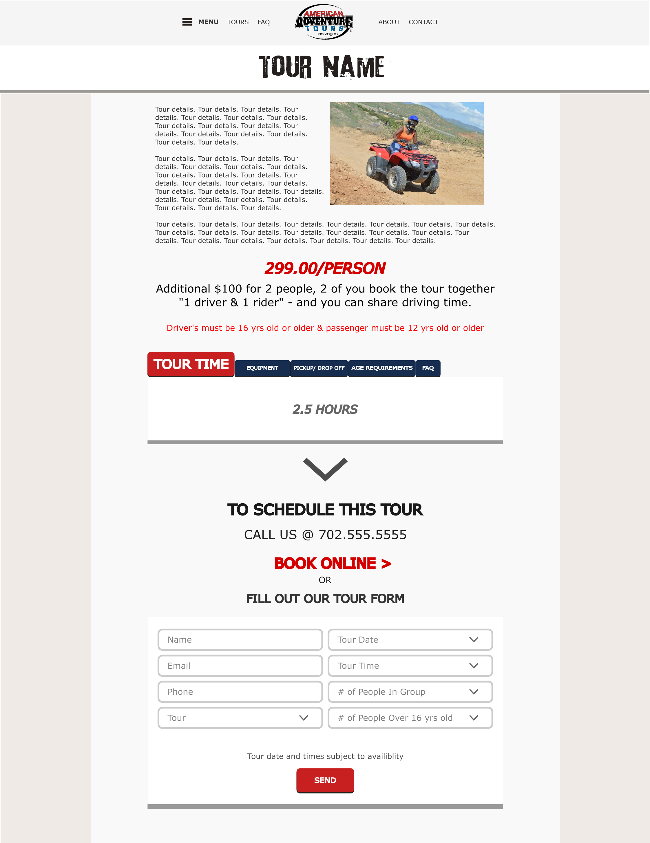 American Adventure Tours - tour page mockup1