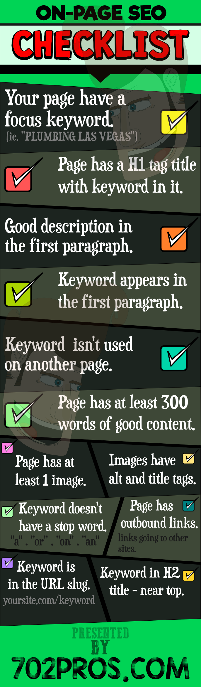 on page seo checklist infographic