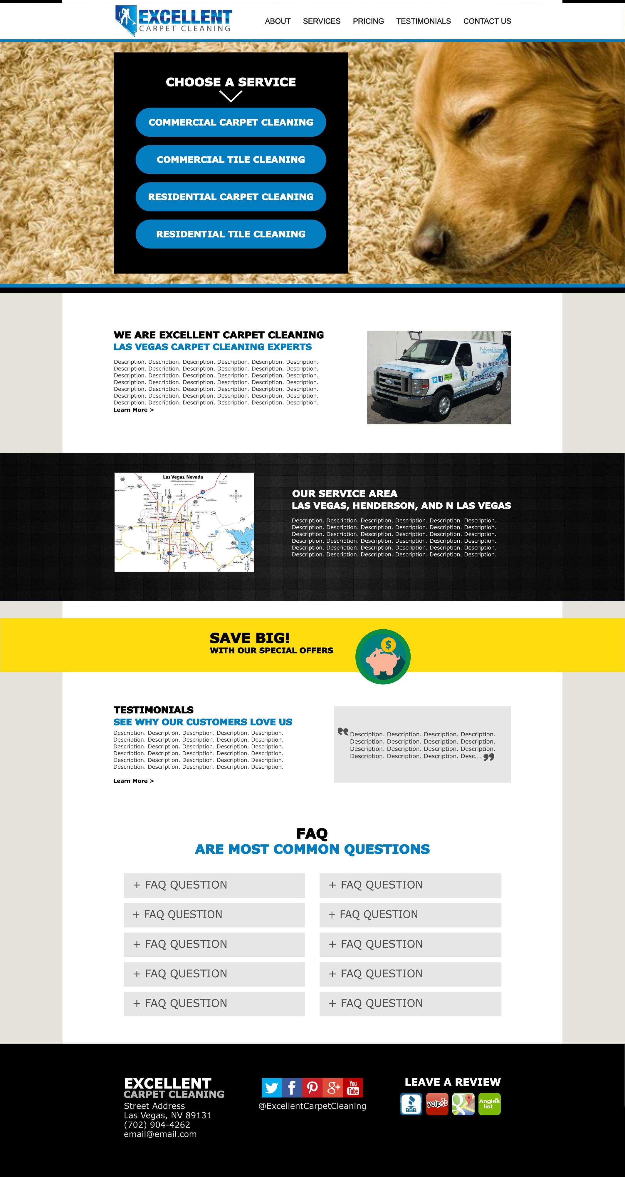 Excellent Carpet Cleaning Website Mockup
