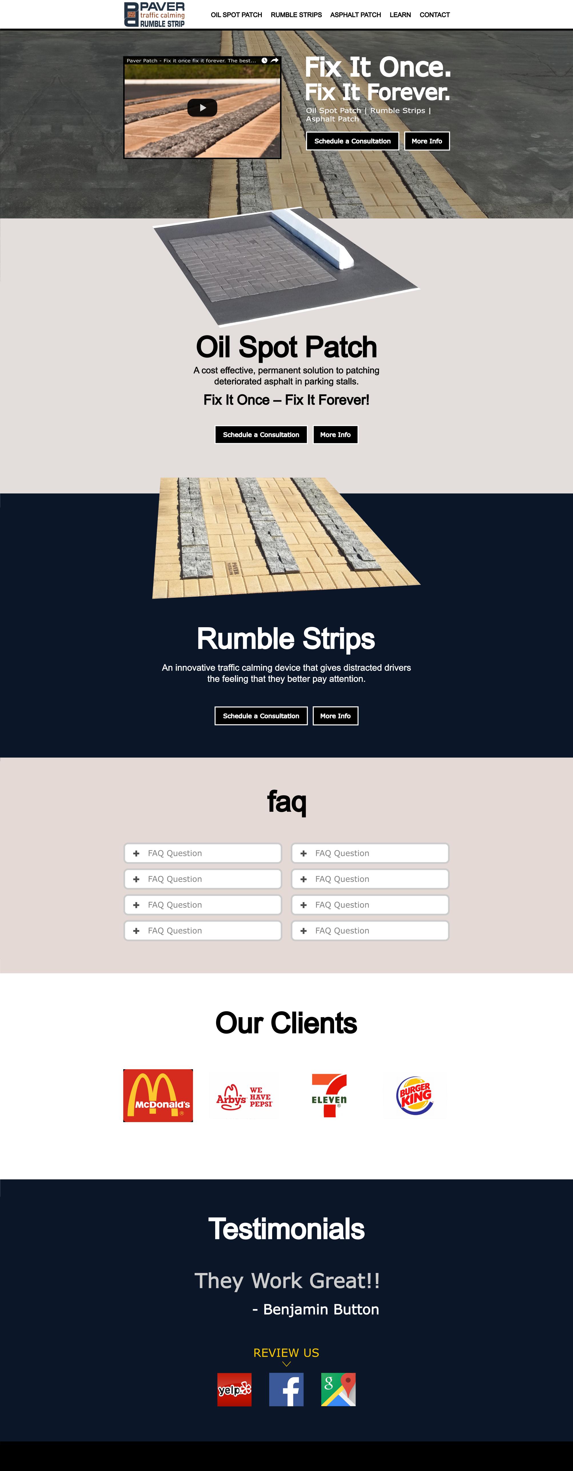 Paver Patch Website Design Mockup