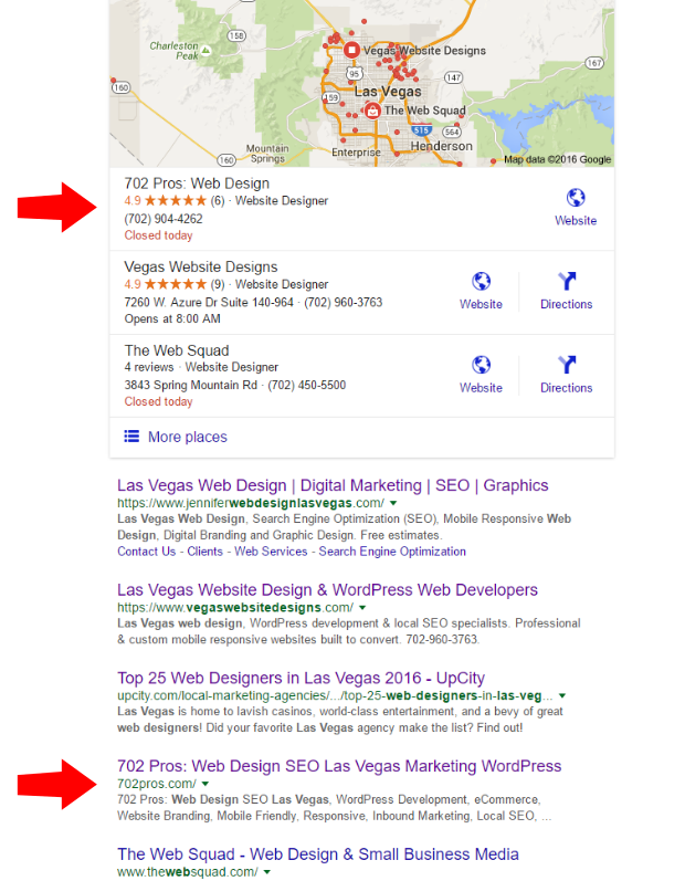 web design las vegas seo result - maps and organic - 702 pros: web design and seo