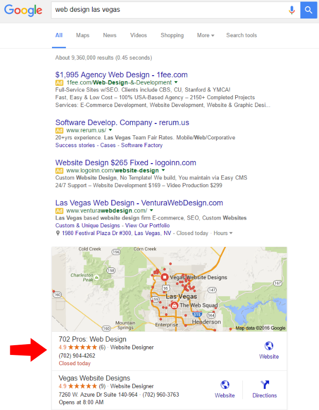 web design las vegas seo result - maps - 702 pros: web design and seo