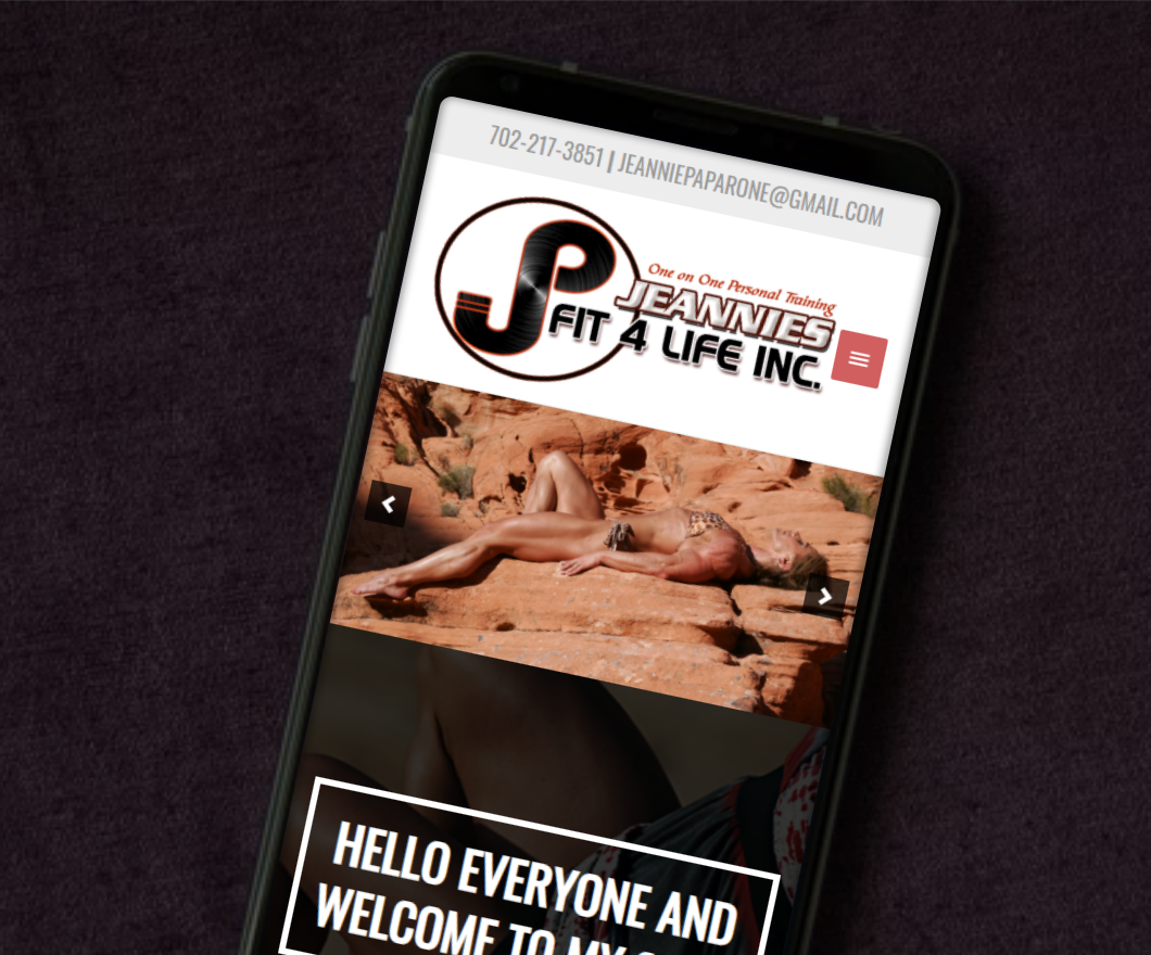 jeannies fit 4life website example by 702 pros for website portfolio - mobile version of website