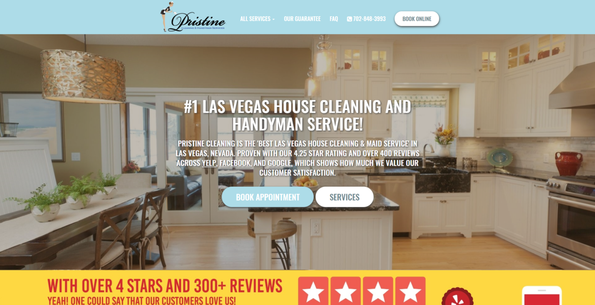 pristine house cleaning - web design example by 702 pros las vegas