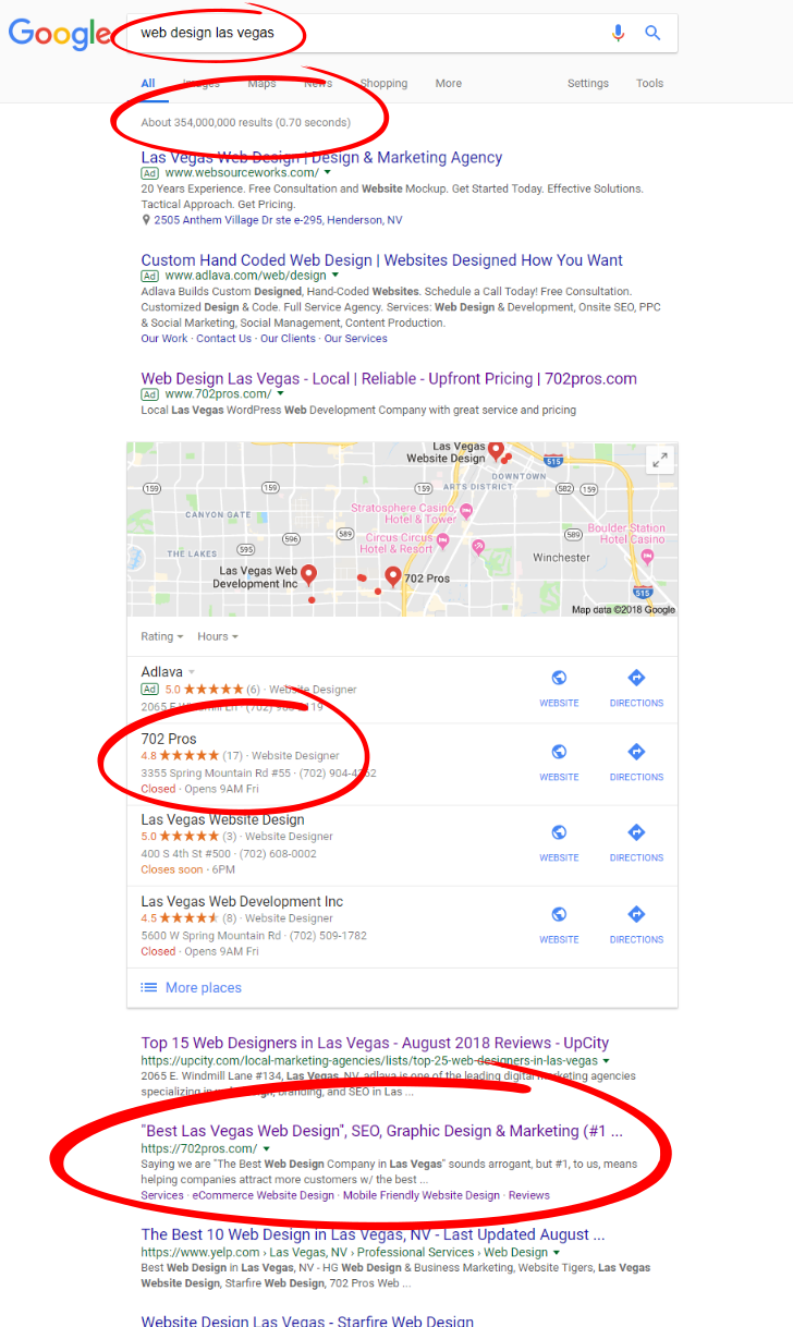 seo results for 702 pros - search term web design las vegas