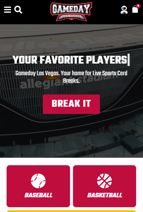 Gameday Mobile Website Design