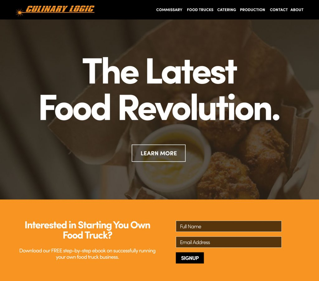Culinary Logic Website Homepage Mockup Design