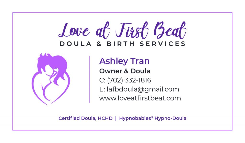 Love At First Beat - Doula Business Card Design by 702 Pros