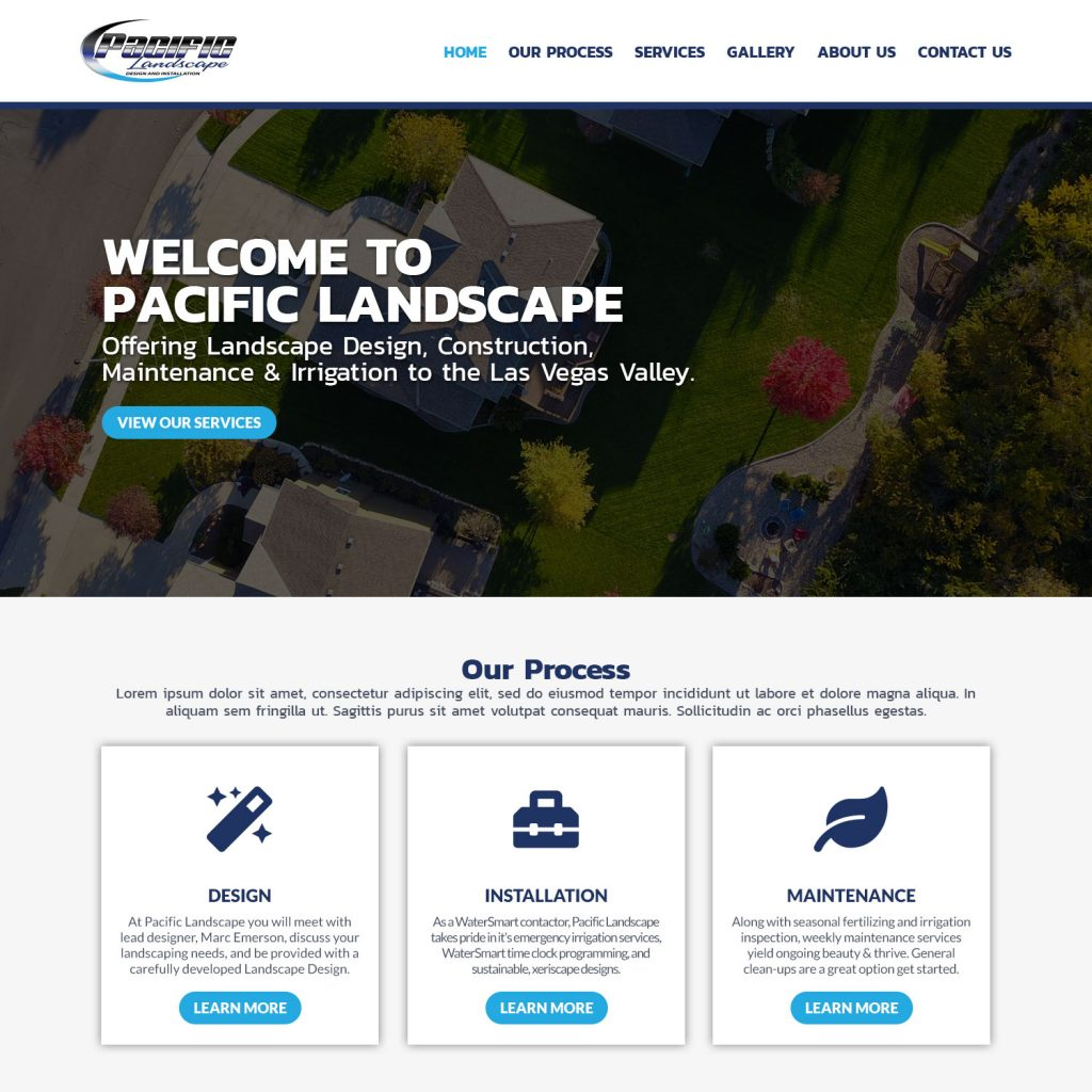 website design created by 702 Pros for the Pacific Island landscaping company