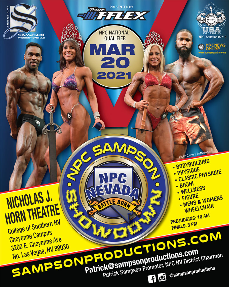 print poster and event graphic created by 702 pro for the 2021 sampson npc show down in las vegas, nv