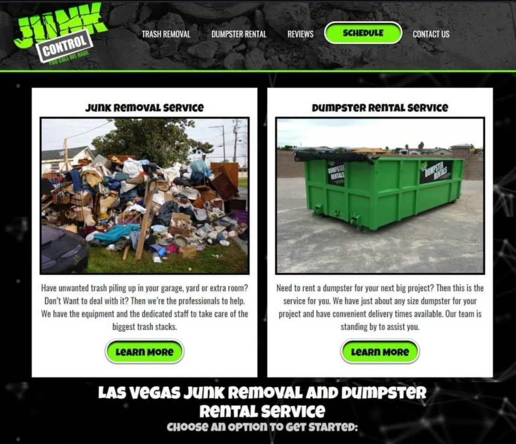 Junk Control | Las Vegas web design and digital marketing | web design mockup