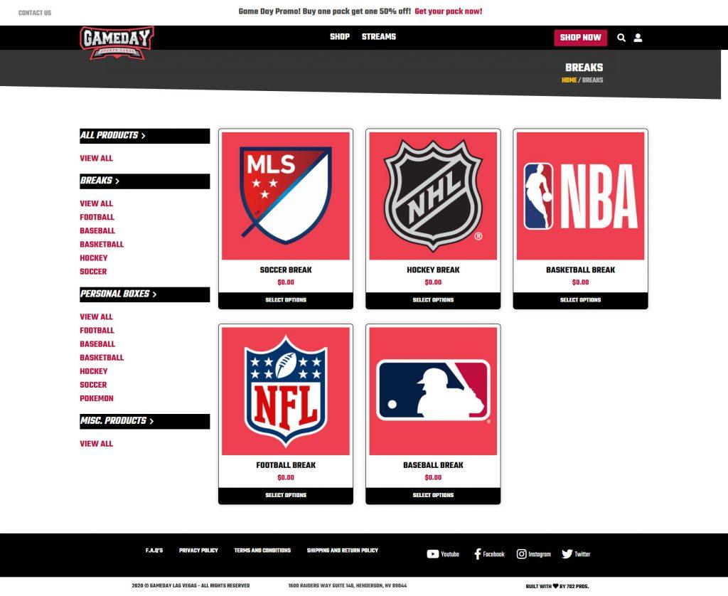 Gameday Las Vegas Card Break Shop Page.