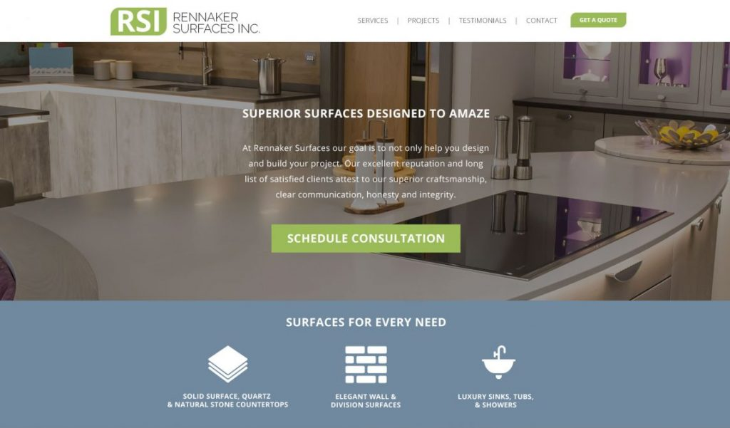 Rennaker Surfaces Website Design Mockup by 702 Pros
