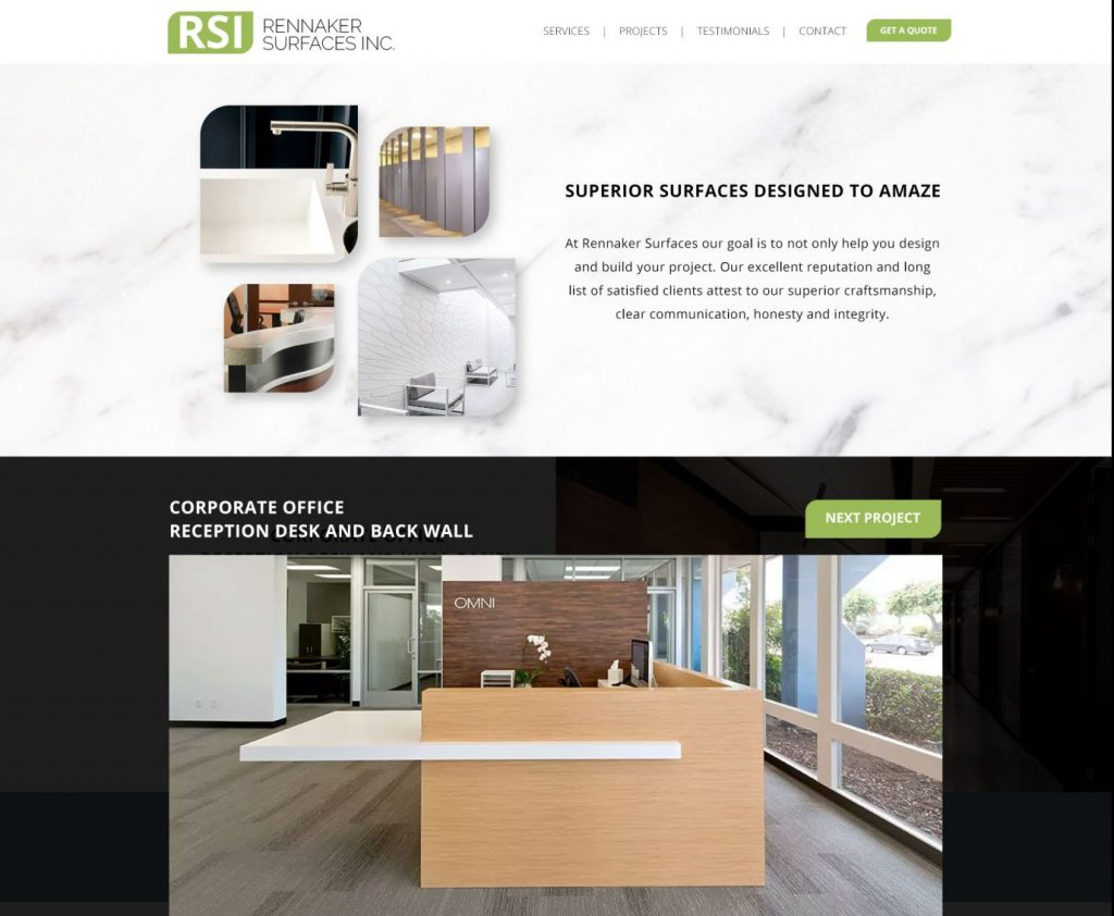 Rennaker Surfaces Project Page Website Design Mockup by 702 Pros