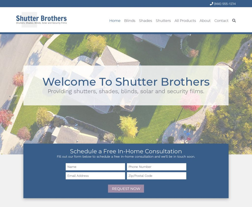 website homepage web design created by 702 pros for shutter brothers nevada