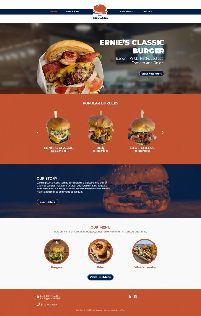 Ernie's Burgers Web Design by 702 Pros