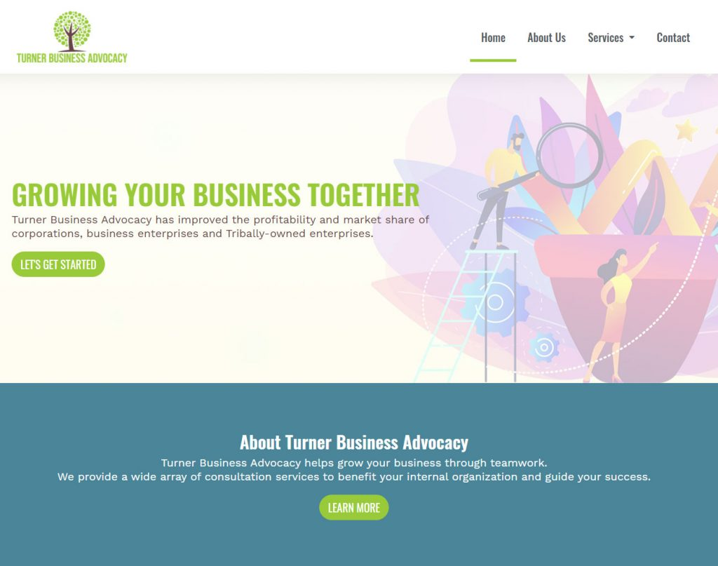 Above the fold homepage website design create for Turner Business Advocacy.