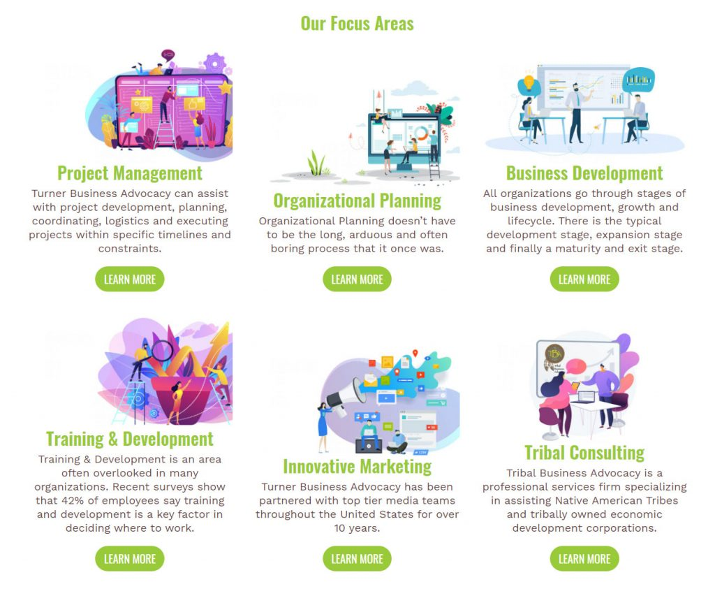 Our focus areas module found on the homepage of the website design created for Turner Business Advocacy.