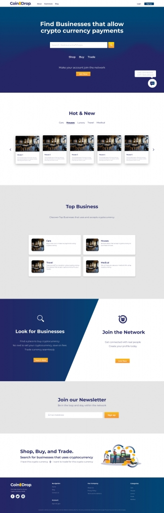 Coin Drop Search Page Mock Up | Crypto website mockup design sample | 702 Pros