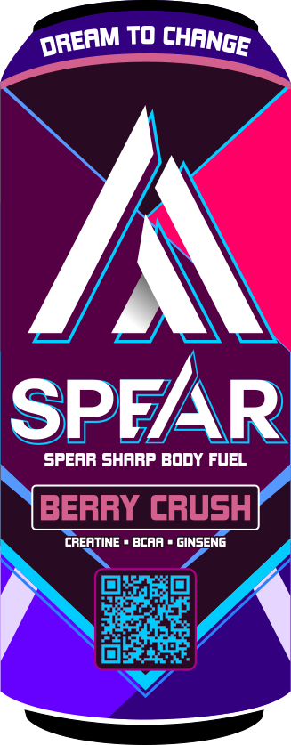 Spear - Berry Crush Energy Drink - Graphic Design