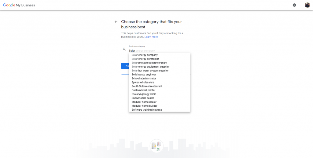 how to create a google my business account - choose the category that fits your business best