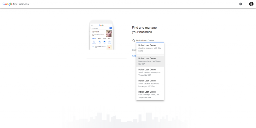 how to create a google my business account - select a business that already exist