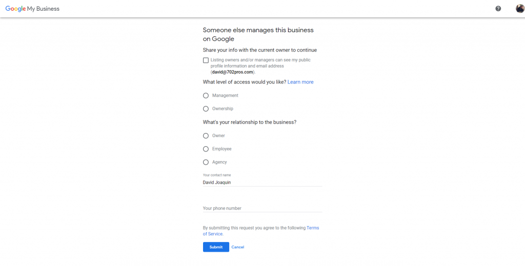 how to create a google my business account - someone else manages this business