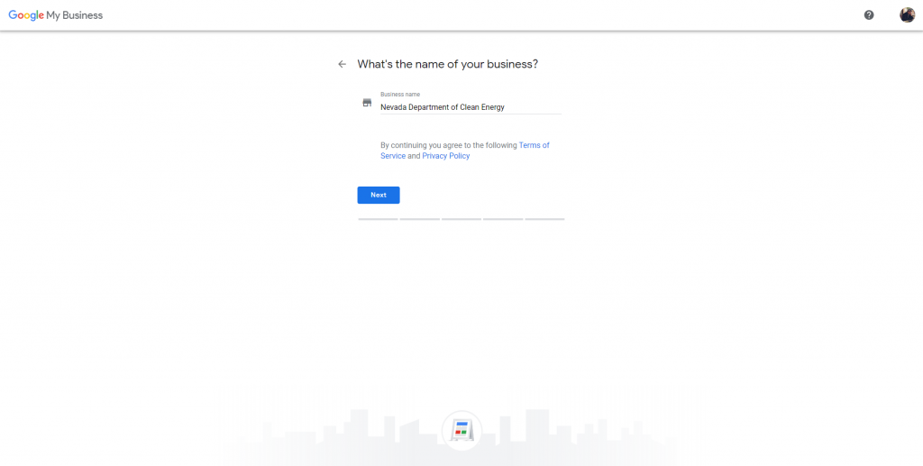 how to create a google my business account - whats your business name info