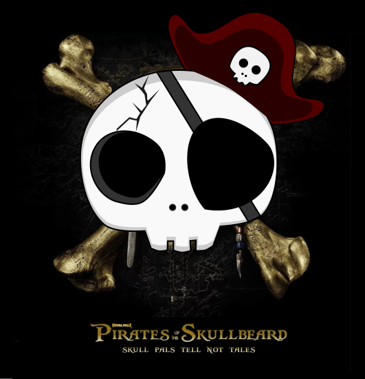 Captain Skull Beard Graphic   Pirates of Caribbean   Graphic design by 702 Pros