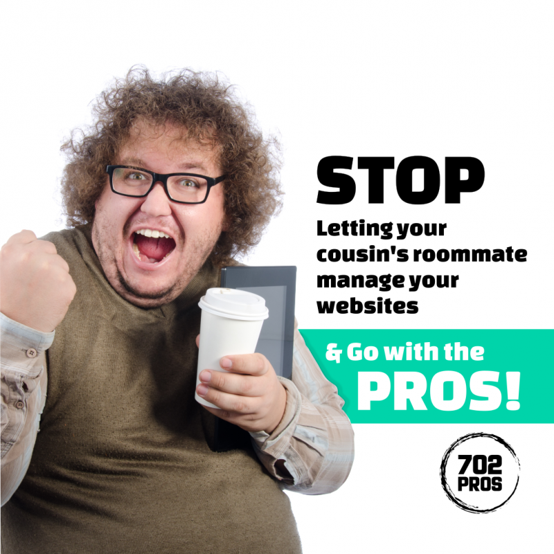 Stop letting your cousins roomate manage your websites and go with the pros - 702 Pros