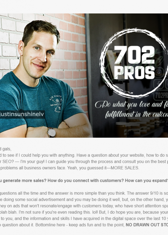 Email marketing by Justin You at 702 Pros LLC | Las Vegas Email Marketing Company | Digital Marketing Strategy